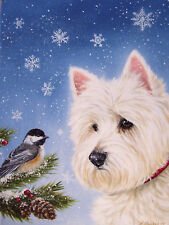 WESTIE WINTER WONDERS FLAG  FREE SHIP USA