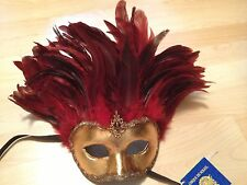 OOAK NWT CIRQUE DU SOLEIL RED FEATHER GOLD GLADIATOR MASK Costume Decor Fantasy