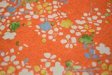 Japanese Silk Fabric Orange with Floral Design 1287