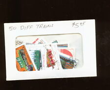 PACKET 50 DIFFERENT TRAINS ON  STAMPS