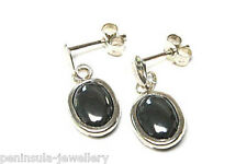 9ct White Gold Hematite Drop Dangly earrings Made in UK Gift Boxed