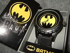 Men's DC Comics Batman Super Hero Logo Seal Black Rubber Band Sport Wrist Watch