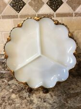 Vintage Anchor Hocking Milk Glass Divided White Platter w/22K Gold Trim~1960's