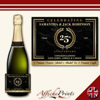 L169 Personalised Marble Anniversary Custom Champagne Prosecco Bottle Label Gift