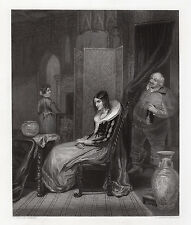 """1800s GEORGE CLINT Engraving """"Shakespeare's, Falstaff and Anne Page"""" Signed COA"""