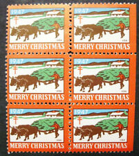 Us, 1947 Christmas Seal Constant Flaw, Block of 6, Detached Oxen Foot, Wx136, Mh