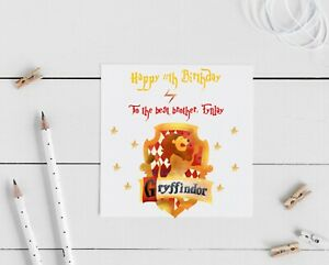 Harry Potter personalised Gryffindor card- any name, age and relation can be add
