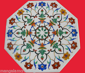 """24"""" Marble Table Top White Pietra dura Inlay Art Work For Home Decor & Gift"""