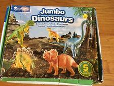 """Jumbo Dinosaurs 8""""-14"""" Raptor Tyrannosaurus Rex Stegosaurus Triceratops Set"""