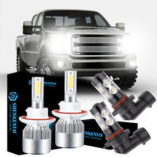 For 2004-2014 Ford F-150 8000K Led Headlight Hi/Lo + Fog Light 4 Bulbs Combo kit