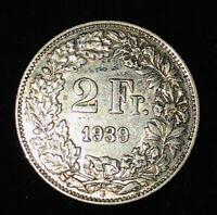 SILVER - WORLD Coin - 1939 Switzerland 2 Francs - World Silver Coin .900