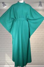Divine 1970s Vintage Emerald Green HUGE Sleeved KAFTAN Hostess Dress CARNEGIE M