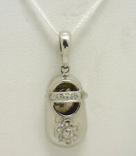 ADORABLE! 14KWG Baby Shoe Pendant Accented with .10ct Total Weight of Diamonds
