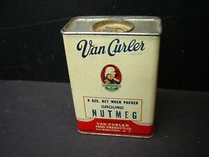 Vintage Van Curler  Ground Nutmeg  8 oz Tin Schenectady New York VGC