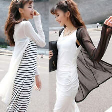 UK STOCK Womens Mesh Sheer Long Sleeve Casual Slim Tops Cardigan Suncreen Plus