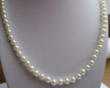 collier bijou vintage perle blanche noeud qualité nacrée attache plaqué or 2628
