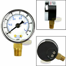 "1/8"" NPT Air Pressure Gauge 0-15 PSI Side Mount 1.5"" Face"
