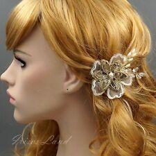 Bridal Hair Pin Silk Flower Pearl Crystal Headpiece Wedding Accessory 9297 Gold