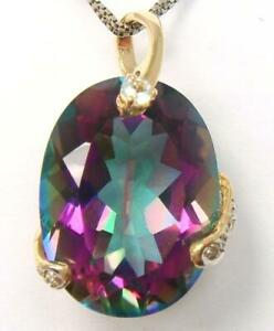 SYJEWELLERY HUGE 9CT SOLID YELLOW GOLD OVAL MYSTIC TOPAZ & DIAMOND PENDANT P937