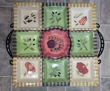 Antipasto Serving Set Signature Housewares Inc Debby Segura 2004 9 Piece w/ Rack