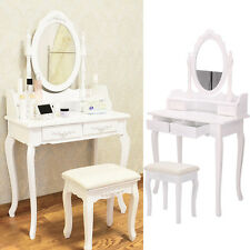 White Dressing Table Vanity Makeup Desk With 4 Drawers Mirror Set and Stool