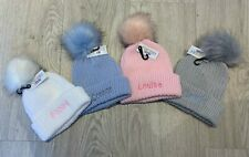 PERSONALISED BABY HAT POM POM  KNITTED WINTER WHITE PINK BLUE GIFT BOY GIRL 3-12