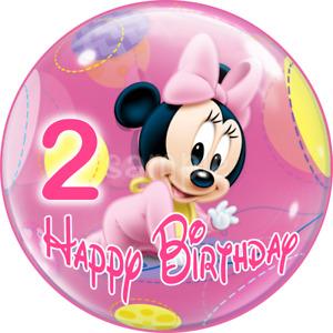 2 Geburtstag  Minnie Maus Baby essbar Muffin Torten-Bild-Aufleger Party Micky