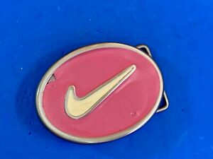 Pink White Swoosh check mark  belt buckle  - golf, all sports