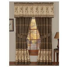 Browning® Buckmark Original Tan Lined Curtains / Drapes w/valance Deer Logo