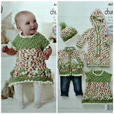 KNITTING PATTERN Baby Cardigan Hat All- in-One and Dress Chunky King Cole 4654