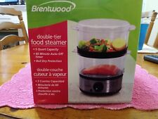 Food Steamer Brentwood TS-1005 Electric 5 Qt Auto-off Timer LED Double Tier