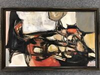 JAMES DEW (1922-2012) OIL PAINTING LISTED MID CENTURY ABSTRACT EXPRESSIONIST