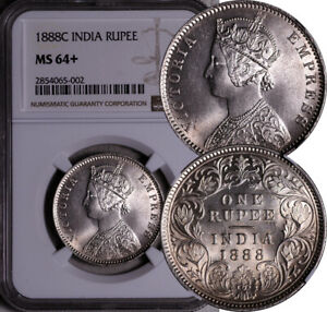 NGC MS-64+ INDIA SILVER 1 RUPEE 1888 -C (ONLY 1 HIGHER!) POP: 1/1