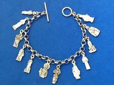 """Custom FEMALE SAINTS Religious Saint Medal Charm Bracelet Lot Stainless Steel 8"""""""