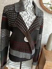 Sarah Pacini brown grey baby alpaca cardigan size UK10/12