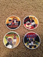 Set of 4 Stone Wine Drink Coasters with holder