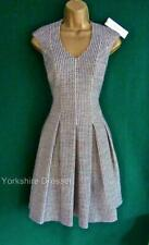 KAREN MILLEN UK 14 Grey Tweed Full Skirted Fit&Flare Pockets Office Dress DX078