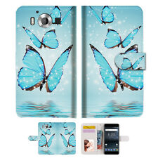 Cyan Butterfly Phone Wallet Case Cover For Nokia 6 2018 -- A019