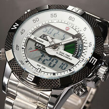SHARK Mens Digital Quartz Wrist Watch Stopwatch Sports Silver Stainless Steel