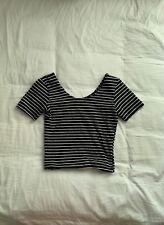 AMERICAN APPAREL Black & White Striped Crop Top XS
