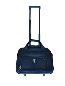 Delsey Black Carry On Luggage on Wheels Lightweight Telescope Airport Roll