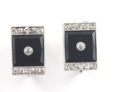 Vintage Art Deco Onyx Diamond Earrings 14k White Gold Screw Back