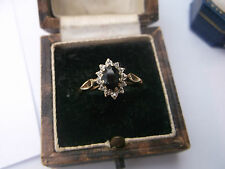 Women's Vintage gold ring sapphire & diamonds dimensione N Peso Anello Di Qualità 1.5g