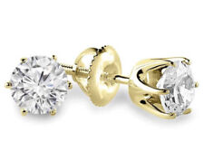9mm Off White Moissanite Real 14k Yellow Gold Six Prong Solid Stud Earrings