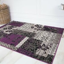 Purple & Gray Contemporary Non Shed Area Rugs Quality Soft Small Large Rugs