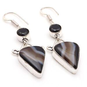 "Banded Black Onyx Sterling Silver Plated Earrings 2.2"" Gemstone Jewelry W3932"