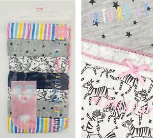BNWT Mothercare Girls 7 Multi Pack Zebra Pink Cotton Knickers Briefs Underwear