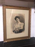 "Original Antique Portrait Painting On Silk Woman Framed 24x28"""