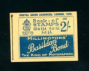 GB  1929 PUC Stamp Booklet  No Stamps, Skeleton Only    (O535)
