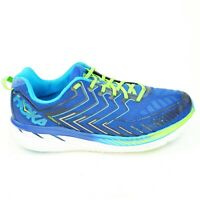 Hoka One One Clifton 4 Men's Size 14 Blue Back Lime Athletic Running Shoes